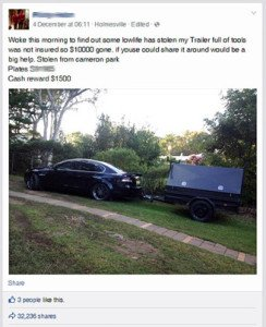 A stolen trailer post on Facebook