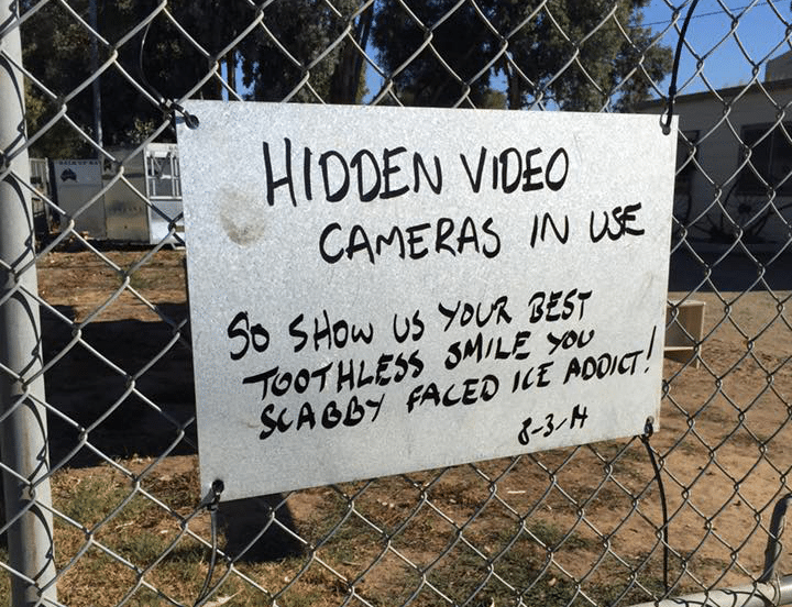 Stolen tradies gear sign