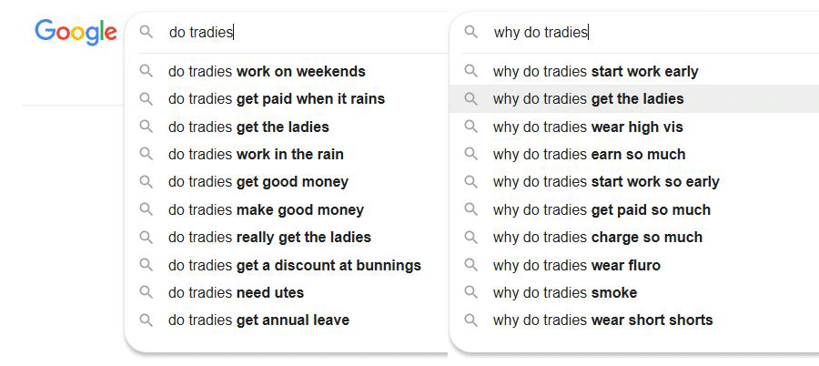 Why do tradies google search